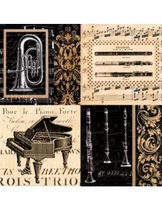 """Салфетка для декупажа """"Музыкальные инструменты и ноты"""", 33х33 см, Германия"""