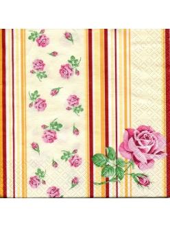 Салфетка для декупажа Розы и полоски, 33х33 см