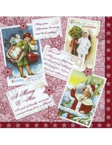 """Салфетка для декупажа """"Винражные Рождественские открытки"""", 33х33 см, Германия"""
