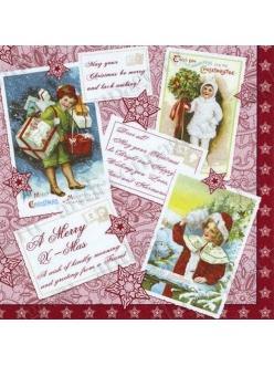 Салфетка для декупажа Винражные Рождественские открытки, 33х33 см