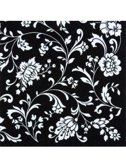 Салфетка для декупажа Цветочный орнамент на черном, 33х33 см, Германия
