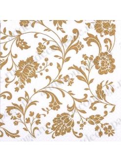 Салфетка для декупажа Цветочный золотой орнамент, 33х33 см