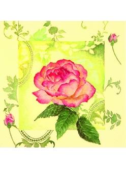 Салфетка для декупажа Очаровательная роза, 33х33 см, Германия