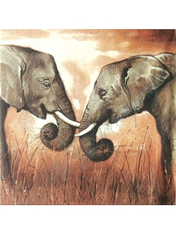 Салфетка для декупажа Африканские слоны, 33х33 см, Германия
