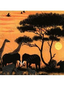 Салфетка для декупажа Парк Окаванго, Африка, 33х33 см, Германия