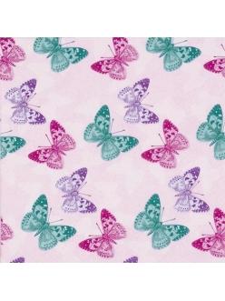 Салфетка для декупажа Бабочки на розовом, 33х33 см, Германия