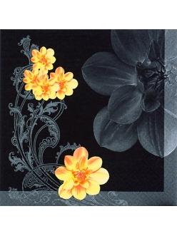 """Салфетка для декупажа """"Желтые цветы и орнамент на черном"""", 33х33 см, Германия"""