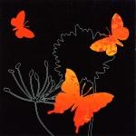 """Салфетка для декупажа """"Оранжевые бабочки на черном"""", 33х33 см, Германия"""