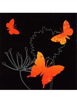 Салфетка для декупажа Оранжевые бабочки на черном, 33х33 см, Германия