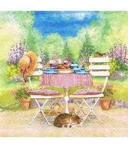 """Салфетка для декупажа """"Обед за садовым столом"""", 33х33 см, Германия"""