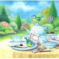 """Салфетка для декупажа """"Птички на столе в саду"""", 33х33 см, Германия"""
