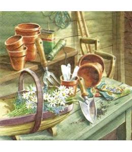 """Салфетка для декупажа """"Маргаритки в садовом сарае"""", 33х33 см, Германия"""