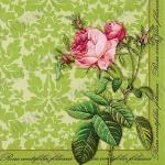 """Салфетка для декупажа """"Роза, салатовый орнамент"""", 33х33 см, Германия"""