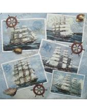 "Салфетка для декупажа ""Парусники на открытках"", 33х33 см, Германия"