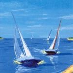 "Салфетка для декупажа ""Морской берег, парусники"", 33х33 см, Германия"