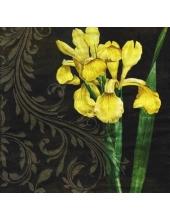 "Салфетка для декупажа ""Желтый ирис на черном"", 33х33 см, Германия"
