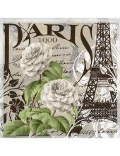 """Салфетка для декупажа """"Париж и розы"""", 33х33 см, Германия"""