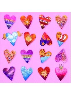 Салфетка для декупажа Разноцветные сердечки, 33х33 см, Германия