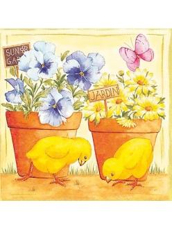 Салфетка для декупажа, TF380325, Цыплята и цветы, 33х33 см, Германия