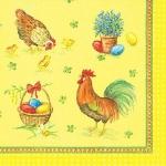 """Салфетка для декупажа """"Пасхальные яйца, петухи и куры"""", 33х33 см, Германия"""