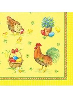 Салфетка для декупажа Пасхальные яйца, петухи и куры, 33х33 см, Германия