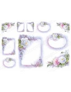 """Рисовая бумага TO-DO 040 """"Рамочки с розами"""", 35х50 см, 15г/м2, TO-DO (Италия)"""