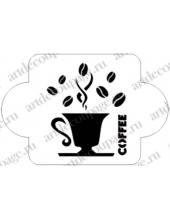 """Трафарет пластиковый EDMD052 """"Кофе"""", 10х10 см, Event Design"""