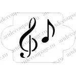 """Трафарет пластиковый EDMD065 """"Музыка, скрипичный ключ"""", 10х10 см, Event Design"""