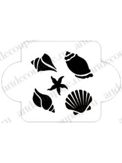 Трафарет пластиковый EDMD085 Ракушки, морская звезда, 10х10 см, Event Design