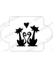 "Трафарет пластиковый EDMD091 ""Кошки и сердце"", 10х10 см, Event Design"