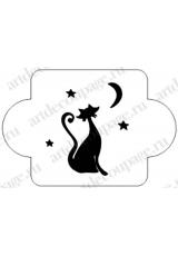 """Трафарет пластиковый EDMD092 """"Кошка под луной"""", 10х10 см, Event Design"""