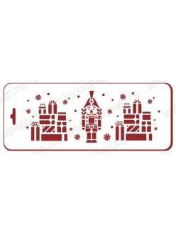 Трафарет новогодний Щелкунчик и подарки, 10х25 см, Event Design