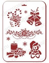 """Трафарет пластиковый новогодний EDNGP020 """"Новогоднее настроение"""", 21х31 см, Event Design"""