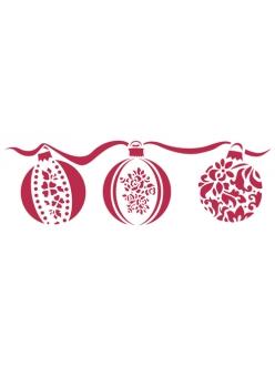 Трафарет новогодний KSB138 Рождествкнские шары, 38х15 см, Stamperia