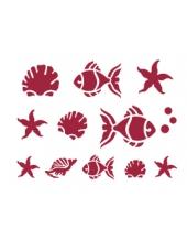 """Трафарет пластиковый для росписи KSD004 """"Морские обитатели"""", 15х20 см, Stamperia"""