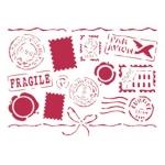 """Трафарет пластиковый для росписи """"Письма"""" с марками и штампами, 15х20 см, Stamperia (Италия)"""