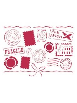 Трафарет для росписи Письма с марками и штампами, 15х20 см, Stamperia KSD103