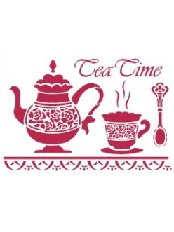 Трафарет для росписи Чаепитие, чайник и чашка, 15х20 см, Stamperia KSD132