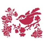 """Трафарет пластиковый для росписи KSD149 """"Птичка на ветке персика"""", 15х20 см, Stamperia (Италия)"""