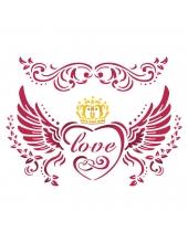 "Трафарет пластиковый для росписи KSD273 ""Love with wings"", 15х20 см, Stamperia (Италия)"