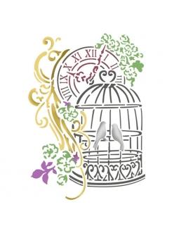 Трафарет пластиковый для росписи Птицы в клетке и часы, 15х20 см, Stamperia