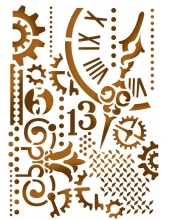 """Трафарет пластиковый для росписи KSD278 """"Часы и механизмы"""", 15х20 см, Stamperia (Италия)"""