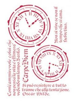 Трафарет пластиковый KSG160 Часы и текст, 21х29,7 см, Stamperia