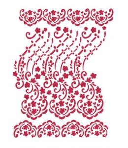 """Трафарет пластиковый KSG213 """"Цветочное кружево"""" орнамент, 21х29,7 см, Stamperia (Италия)"""