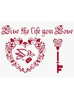 Трафарет для росписи Сердце, голубь, ключ, 21х29,7 см, Stamperia