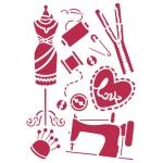 """Трафарет пластиковый KSG230 """"Шитьё и манекен"""", 21х29,7 см, Stamperia"""