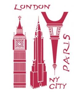 "Трафарет пластиковый KSG247 ""Лондон, Париж"", 21х29,7 см, Stamperia"