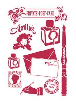 Трафарет Письмо, письменные принадлежности, 21х29,7 см, Stamperia KSG256