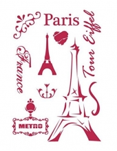 "Трафарет пластиковый ""Париж, Эйфелева башня"", 21х29,7 см, Stamperia (Италия)"