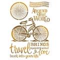 """Трафарет пластиковый KSG397 """"По всему миру на велосипеде"""", 21х29,7 см, Stamperia (Италия)"""